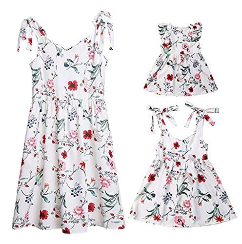Loalirando Madre e Hija Vestidos de Verano Estampado Floral Vestidos Familiares Mangas Cortas Chica Vestido de Princesa/Vestido de niña de Verano/Vestidos de Mujer Elegante Verano