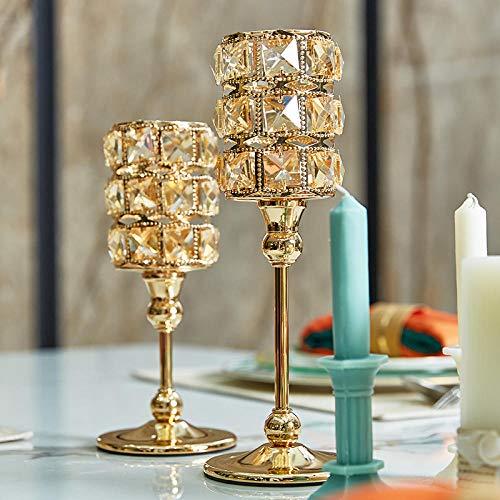 Thee Light Houders Kandelaar HouderNordic Crystal Kandelaar Goud Bruiloft Glas Kaarsenhouder Kaars Stand Crystal Romantische Decoratieve Home Decor