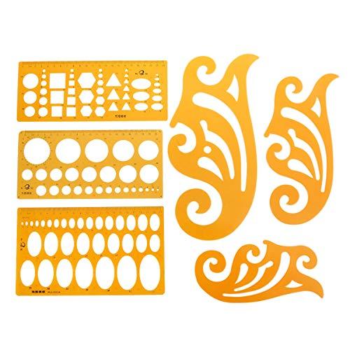 STOBOK 6Pcs Plantillas de medición casa plan plantilla plantillas de dibujo geométrico reglas geométricas para la oficina y la escuela
