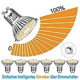 EACLL LED GU10 Regulable Bombillas Blanco Cálido 6W 2700K 575 Lúmenes Equivalente 75W Halógena. Atenuación Continua Lámparas Par16. Sin Estroboscópica, 120 ° Luz Blanca Cálida Spotlight LED, 6 Pack