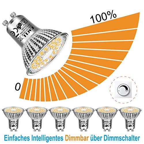 EACLL LED GU10 Dimmbar Warmweiss Leuchtmittel 6W 2700K 575 Lumen Glühbirnen, Stufenloses Kontinuierliches Dimmen Par16 Lampen. Lichtwinkel 120 Grad Warmweiß Licht LED Birnen, 6 Pack
