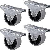 Gedotec Ruedas fijas de diseño con placa atornillable, ruedas de transporte para todos los suelos, plástico gris, Castor, diámetro de 40 mm, capacidad de carga de 25 kg, juego de 4 ruedas