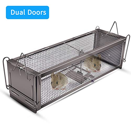 MDee Humane Live Mouse Trap That Work, Dual Doors Smart Rat Trap, Catch and Release Mice. Suitable for Indoor and Outdoor 16.14''x4.72''x4.33''