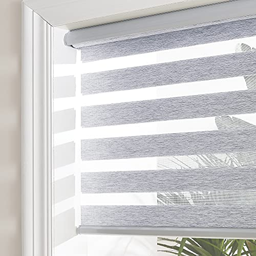 NICETOWN Zebra Roller Blind, Light Filtering Dual Layer Window Blind Treatment for Bedroom (Maximum Height 72inch, Grey Color, Width 27 inch)