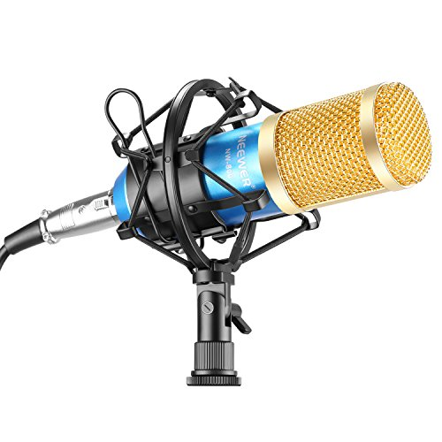 Neewer NW-800 Professional Studio Microphone Set Including NW-800 Condenser Microphone, Microphone Shock Mount, Ball-type Anti-wind Foam Cap and Microphone Power Cable (Blue)