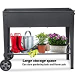 """FOYUEE Raised Planter Box with Legs Outdoor Elevated Garden Bed On Wheels for Vegetables Flower Herb Patio 12 SIZE: 40-1/2"""" L x 15-1/2"""" W x 31-1/2"""" H overall, planting box: 37-1/2"""" L x 15-1/2"""" W x 8"""" deep, holds about 2.5 cubic feet soil, provide ample growing space to raise vegetables, herbs, flowers and plants ERGONOMIC: Elevated raised planter box with legs eliminates the need to bend over, making gardening convenient. Raised garden bed on wheels, move to anywhere you want, with handy shelf holds accessories or tools METAL: Made of stable galvanized steel raised garden bed with anti-rusty grey coating, not made of wood which may rot. It can place outside or indoor for long time use"""