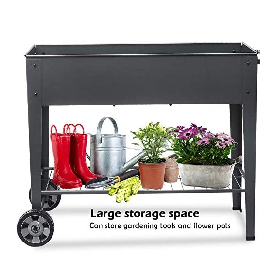 """FOYUEE Raised Planter Box with Legs Outdoor Elevated Garden Bed On Wheels for Vegetables Flower Herb Patio 5 SIZE: 40-1/2"""" L x 15-1/2"""" W x 31-1/2"""" H overall, planting box: 37-1/2"""" L x 15-1/2"""" W x 8"""" deep, holds about 2.5 cubic feet soil, provide ample growing space to raise vegetables, herbs, flowers and plants ERGONOMIC: Elevated raised planter box with legs eliminates the need to bend over, making gardening convenient. Raised garden bed on wheels, move to anywhere you want, with handy shelf holds accessories or tools METAL: Made of stable galvanized steel raised garden bed with anti-rusty grey coating, not made of wood which may rot. It can place outside or indoor for long time use"""