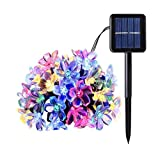 ZPFDM Luz Solar LED Sakura String Light, Luces de Flores de 23 pies, 8 Modos, Luces de Cadena Multicolor al Aire Libre para Navidad, Día de San Valentín, Madre'Day,A
