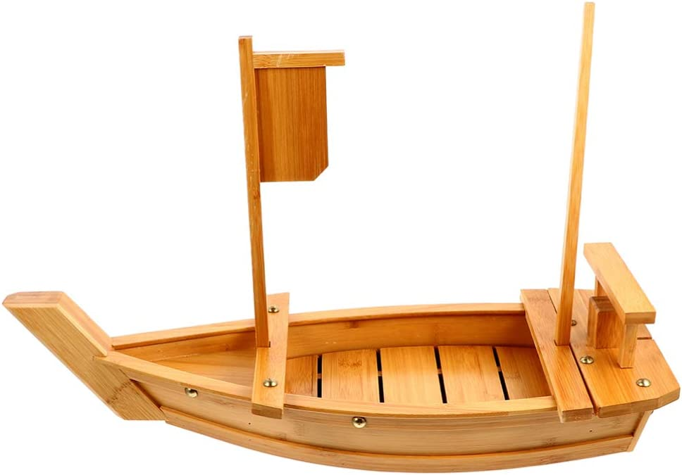 DOITOOL Bamboo Sushi Boat Great interest Serving Plate Bo Tray Wood Sale