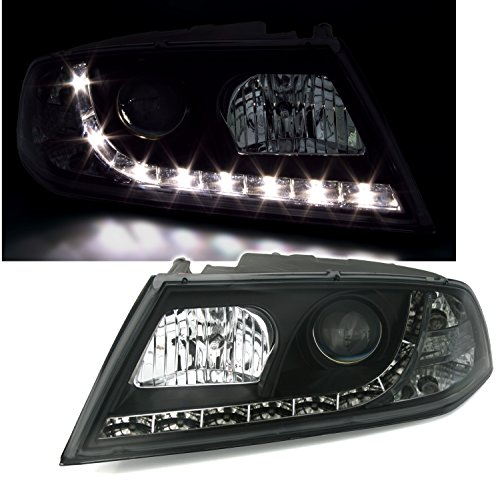 AD Tuning 930305 Jeu de phares (2 pièces) Noirs avec Feux de Circulation diurnes à LED