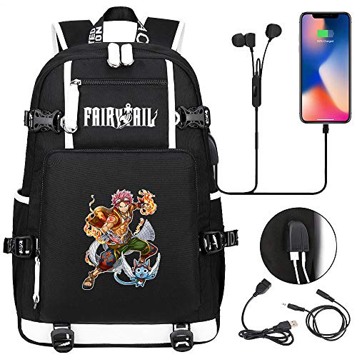 LKKOY Fairy Tail Laptop Backpack Business Travel Work Computer Rucksack for Women Men Student Gift Anti Theft Backpack Anime Movie USB Backpack with Charging Port Black