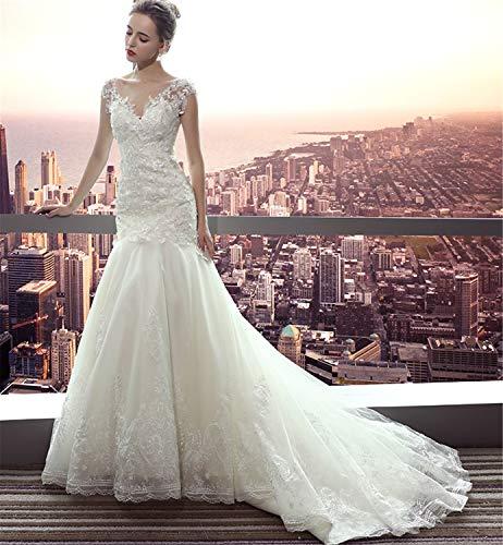LYJFSZ-7 Brautkleid,Damen Rückenfreies Stilvolles Meerjungfrau-Hochzeitskleid Mit Ärmeln Princess Perfect Line Gezogen Mit Spitze Weiß
