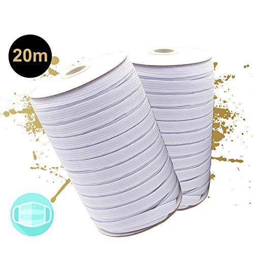 GD Gummiband für Mundschutz zum Selber Nähen I 20 Meter Premium Gummikordel für Mundbedeckungen I Weißes Gummizugband (5 mm)