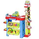 homcom Gioco Supermarket per Bambini 3-6 Anni con Luci e Suoni, Cassa Giocattolo, Cestino e Accessori, 61x38x80cm