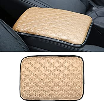 BLAU GRUN Leather Center Console Cushion Pad 11.8 x8.2  Universal Armrest Cover for Cars Vehicles Trucks SUVs Waterproof Center Censole Protector Car Interior Accessories  Beige