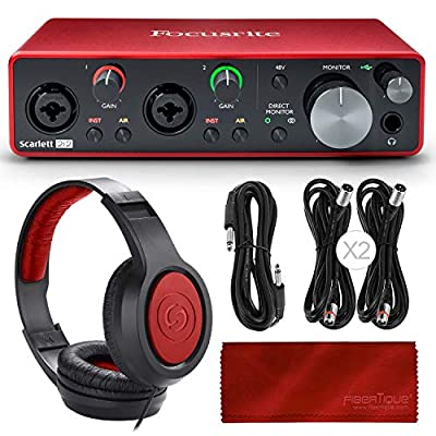 Focusrite Scarlett 2i2 2-in 2-out USB Recording Audio Interface (3rd Generation) + Samson SR360 Over-Ear Dynamic Headphones, Cables and Accessories from Focusrite