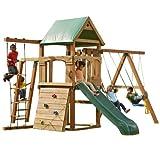 Swing-N-Slide PB 8320N Trekker Swing Set (4x4 uprights not Included) with Slide, Monkey Bars, Climbing Wall and Swings, Wood, Green