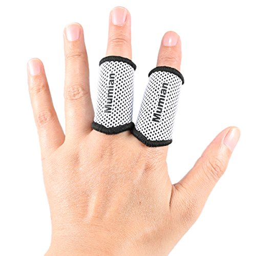Sports Elastic Finger Sleeves Support Thumb Brace Protector Breathable Elastic Finger Tape for Basketball, Tennis,Baseball, Cycling, Volleyball, Badminton, Boating A71 White-S