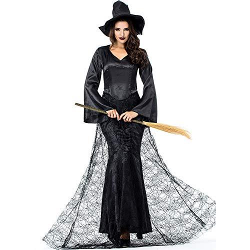 GBYAY Disfraz de Bruja Bruja Negra para Mujer Vestido de Cosplay de Fiesta de Rendimiento de Carnaval de Halloween