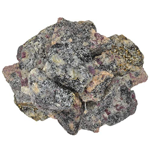 Digging Dolls: 1 lb of Ruby in Matrix Rough Stones from India - Raw Rocks Perfect for Tumbling, Lapidary Polishing, Reiki, Crystal Healing and Crafts!