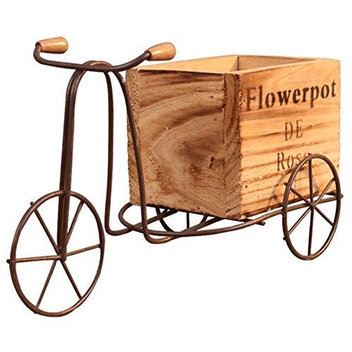 SADDPA Houten Tricycle Model Bloempot smeedijzer fiets flower Stand geschenken Indoor Storage Rack Huistuin Desktop Decoratieve Crafts