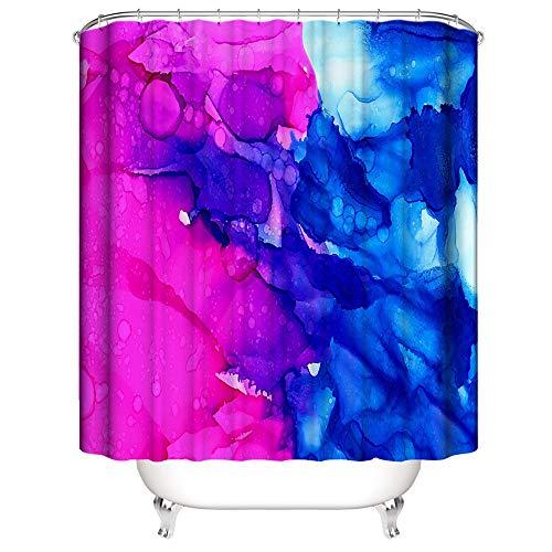 Ciujoy Pink-Blau Marmor Duschvorhang 180x180cm, Anti-Schimmel, Anti-Bakteriell, Wasserdicht aus Polyester mit 12 Duschvorhangringen 3D Digitaldruck, Duschvorhänge für Dusche in Badezimmer