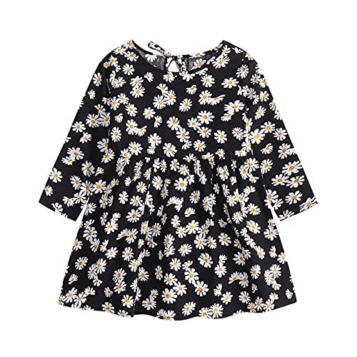 Vestidos de bebé para niñas - Ropa de bebé Niñas - Vestido de manga larga de una pieza con estampado floral de princesa vestido de otoño para niños (6 meses a 3 años), Negro, 18 meses