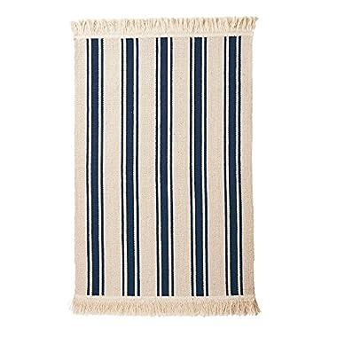 Ikea Flatwoven Area Kitchen Rug Stripes Cotton Beige Blue Throw Mat