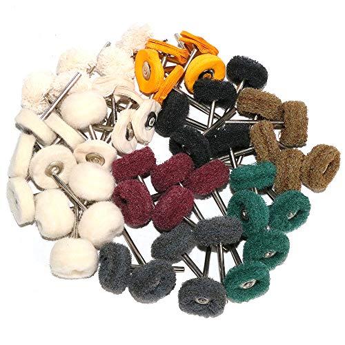 50PCS Abrasive Buffing Polishing Wheel Set For Rotary Tools,Wool Felt Cotton Wheel Scouring pad Mini Brush Polishing kit with 3mm Shank(Mix 50pcs)