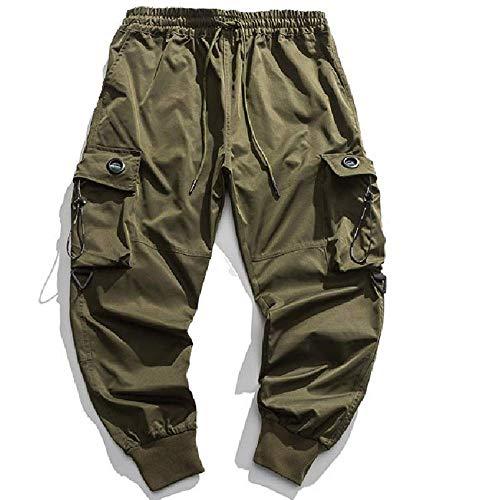 Frühling neue europäische und amerikanische Jugendliche Hip Hop Mode Marke Overalls für Männer Multi Pocket Loose Leggings für Männer Gr. 31-35, grün