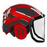 Protos integral Forest - Casco de seguridad para los oídos, color: rojo y negro, equipamiento: visera fina