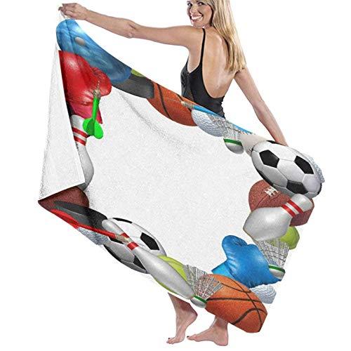 Spetlye Large Toalla de baño Blanket,Sport Equipment from Basketball Boxing Golf Bowling Tennis Badminton Football Soccer Ice Hockey,Bath Sheet Beach Towel for Family Travel Swimming,52' x 32'