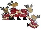 khevga Weihnachtsdeko Purzelnde Elche für Türrahmen-Deko aus Holz (Purzelnde Elche) - 2