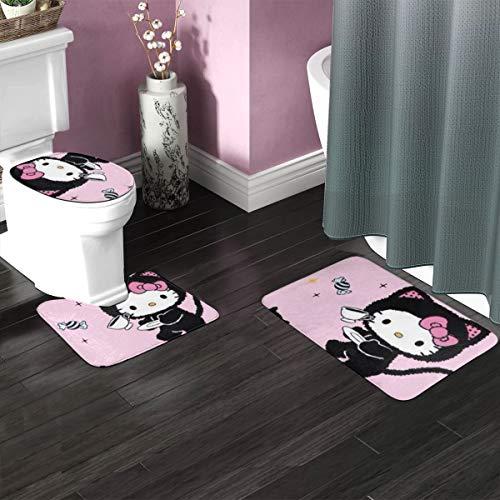 Juego de 3 alfombrillas de baño de Hello Kitty, alfombrilla de baño antideslizante + alfombra de contorno en forma de U + cubierta de tapa de inodoro, suave y antideslizante, alfombra de baño