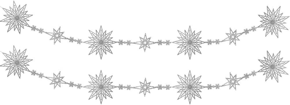 BANBERRY DESIGNS Silver Snowflake Garland - Max 66% OFF 2 Popular overseas of Strands Set o