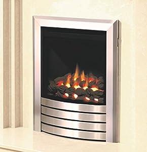 Be Modern Design Fascia Balanced Flue Brushed Steel Gas Fire Coal Inset Insert Fireplace 3.3kW