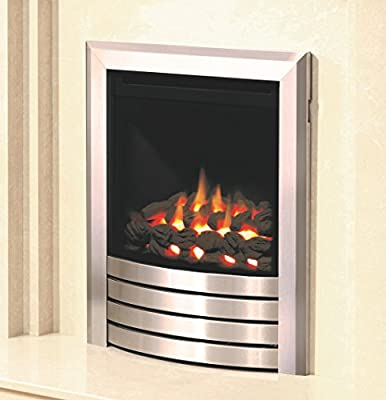Be Modern Design Fascia Balanced Flue Brushed Steel Gas Fire Coal Inset Insert Fireplace 3.3kW