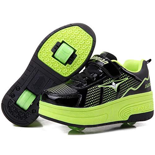 Skateboard Scarpe con Rotelle Scarpe Doppia Ruote Pattini a Rotelle Unisex Bambini All'aperto Sportive Ginnastica Sneaker per Ragazzi e Ragazze