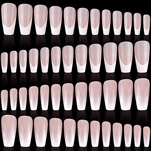 96 Pieces 4 Sets Long Ballerina Nails Coffin Pattern Art Nail Coffin False Nails Gradient Color Nails Glitter Glossy Full Cover Fake Nails Artificial Nail Tips for Nail Art (Simple Pattern)