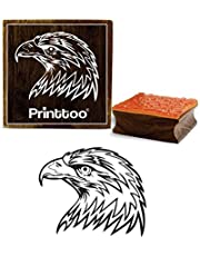 Printtoo Eagle Face Pattern Square Brown Wooden Rubber Stamp Card Making Stamps