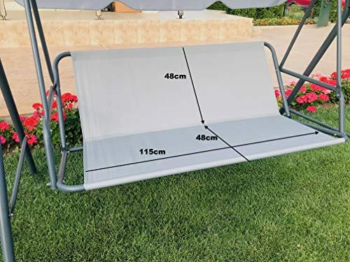 Ersatz-Schaukelsitzbezug für Hollywoodschaukel, Sitzbezug für Gartenstuhl, für den Außenbereich, 115 x 48 x 48 cm, Grau