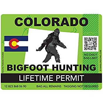 fagraphix Colorado Bigfoot Hunting Permit Sticker Die Cut Decal Sasquatch Lifetime FA Vinyl - 4.00 Wide