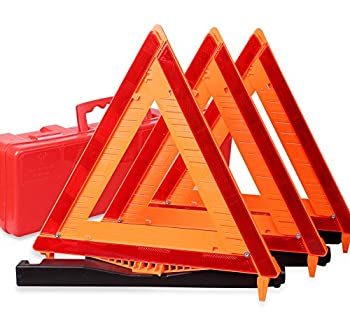 CARTMAN Warning Triangle DOT Approved 3PK Identical to  United States FMVSS 571.125 Reflective Warning Road Safety Triangle Kit