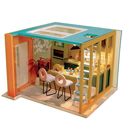 LIUCHANG Casa de muñecas en Miniatura DIY Kit - Muñeco de la casa de muñecas Miniatura de la casa de muñecas con Muebles, Auto Montaje de construcción Playset liuchang20 (Color : Tw31)