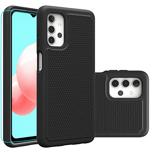 Samsung A32 5G Case, Galaxy A32 5G Case, with HD Screen Protector,Giner Dual Layer Heavy-Duty Military-Grade Armor Defender Protective Phone Case Cover for Samsung Galaxy A32 5G (Black Armor)