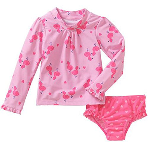 Child of Mine by Carters Baby Toddler Girls 2 Piece Long Sleeve Rash Guard Swim Set Pink Flamingos (3T)