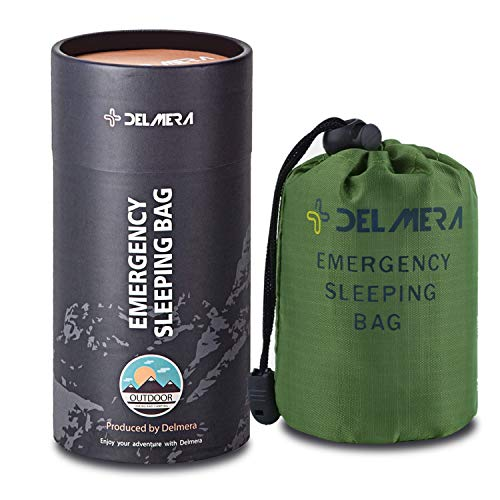 Delmera Emergency Survival Sleeping Bag, Lightweight Waterproof Thermal Emergency Blanket, Bivy Sack with Portable Drawstring Bag for Outdoor Adventure, Camping, Hiking, Orange (Green)