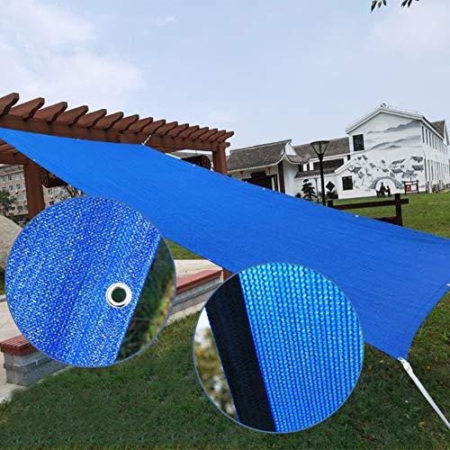 Velas de sombra Cubierta de Sombra de Patio Azul, Tela de Red de Jardín Transpirable a Prueba de Viento con Arandelas, Vela de Sombrilla de Bloque UV de 90% de Rectángulo para Pérgola ( Size : 2×4m )