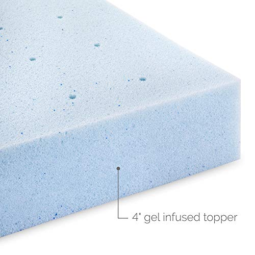 LUCID 4 Inch Gel Memory Foam Mattress Topper - Ventilated Design - Ultra Plush - Queen,