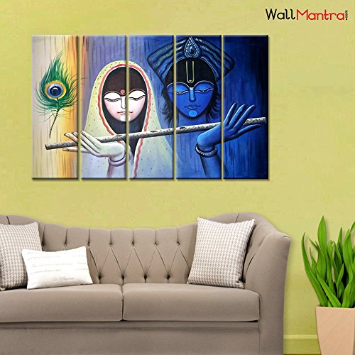 Wallmantra Radha Krishna Indian Spiritual Wall Painting 5 Pieces Canvas Print Wall Hanging Stretched And Framed On Wood 44 W X 24 H Home Decor For Living Room Bedroom Office Decoration Buy